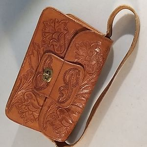 carved leather  mexican purse